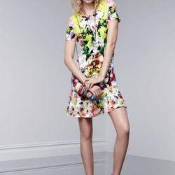 Dress in First Date print, $34.99; miniaudiere in Nolita print, $34.99; floral earrings, $14.99; crystal teardrop pendant necklace, $19.99; crystal teardrop necklace, $39.99; flat sandals, $29.99