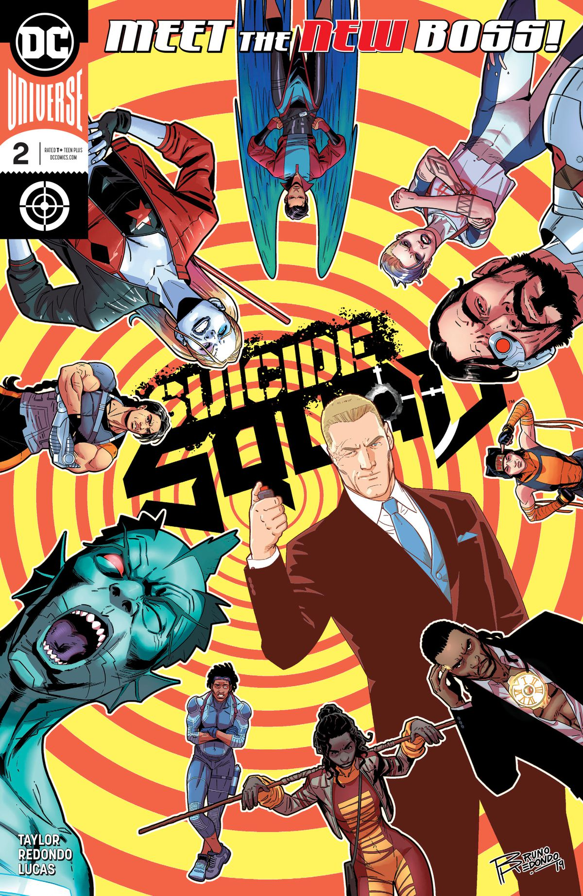 Nearly a dozen members of the Suicide Squad and the Revolutionaries arrayed around a yellow and orange spiral on the cover of Suicide Squad #2, DC Comics (2020).