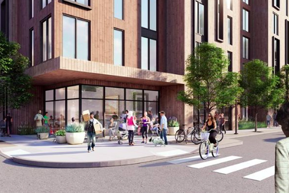 Rendering of an apartment building meeting the streetscape, with lots of people around.