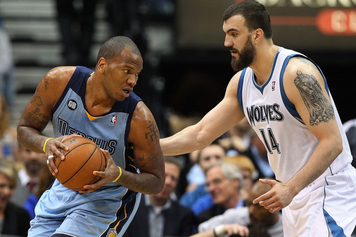 <strong>Yes, Marreese Speights, that is a terrifying tattoo on Nikola Pekovic's left arm. Yes it is.</strong> Credit: Jesse Johnson-US PRESSWIRE