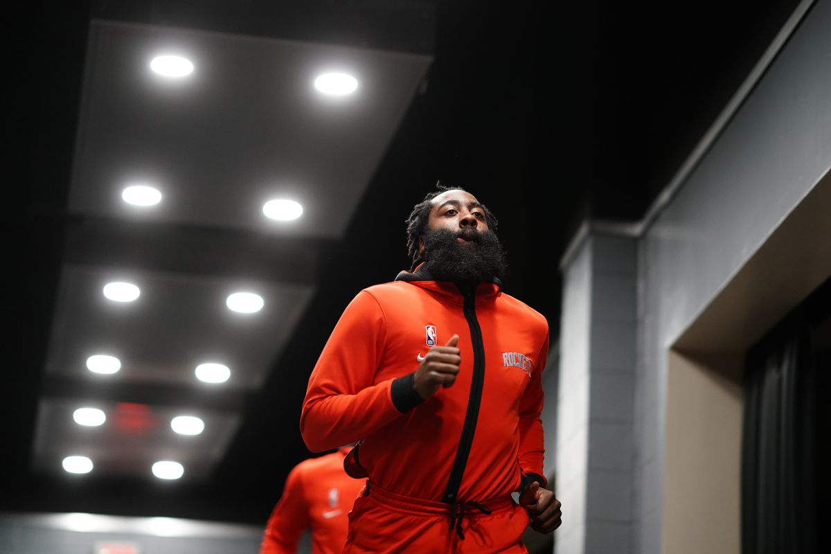 James Harden of the Houston Rockets runs out of the tunnel before the game against the Los Angeles Lakers on January 10, 2021 at the Toyota Center in Houston, Texas.