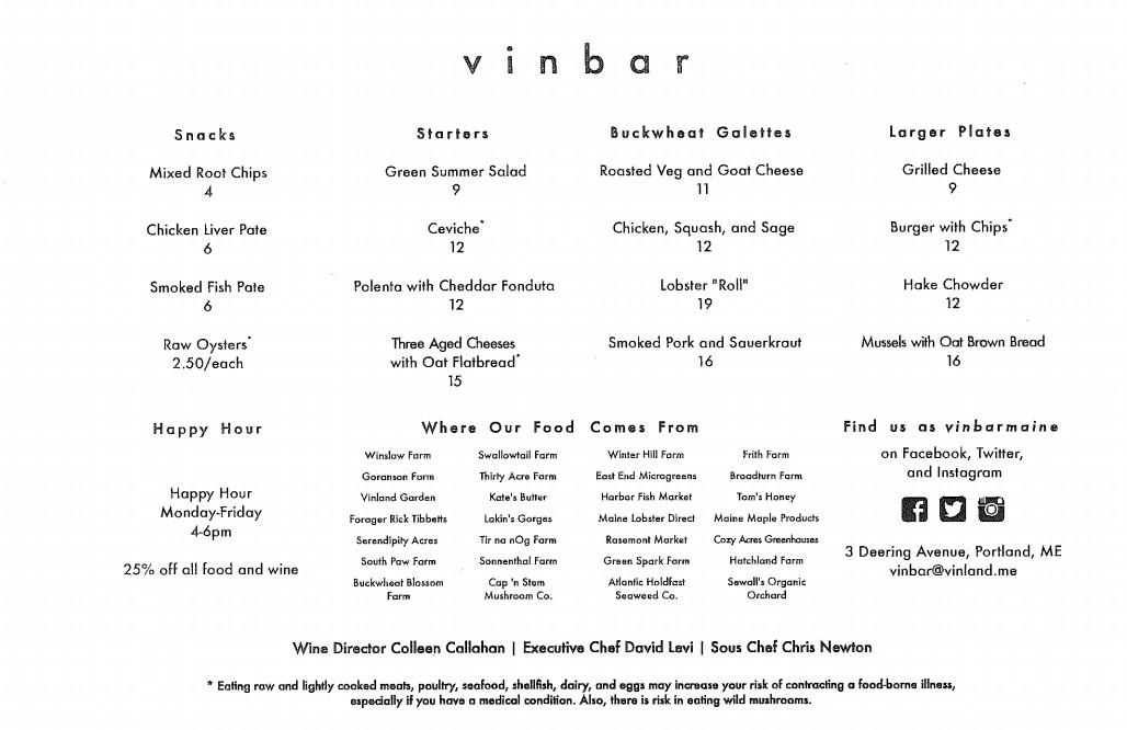 vinbar sample menu