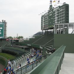 5:38 p.m. The view from the right-field porch. Note the location of the future elevator on the right -
