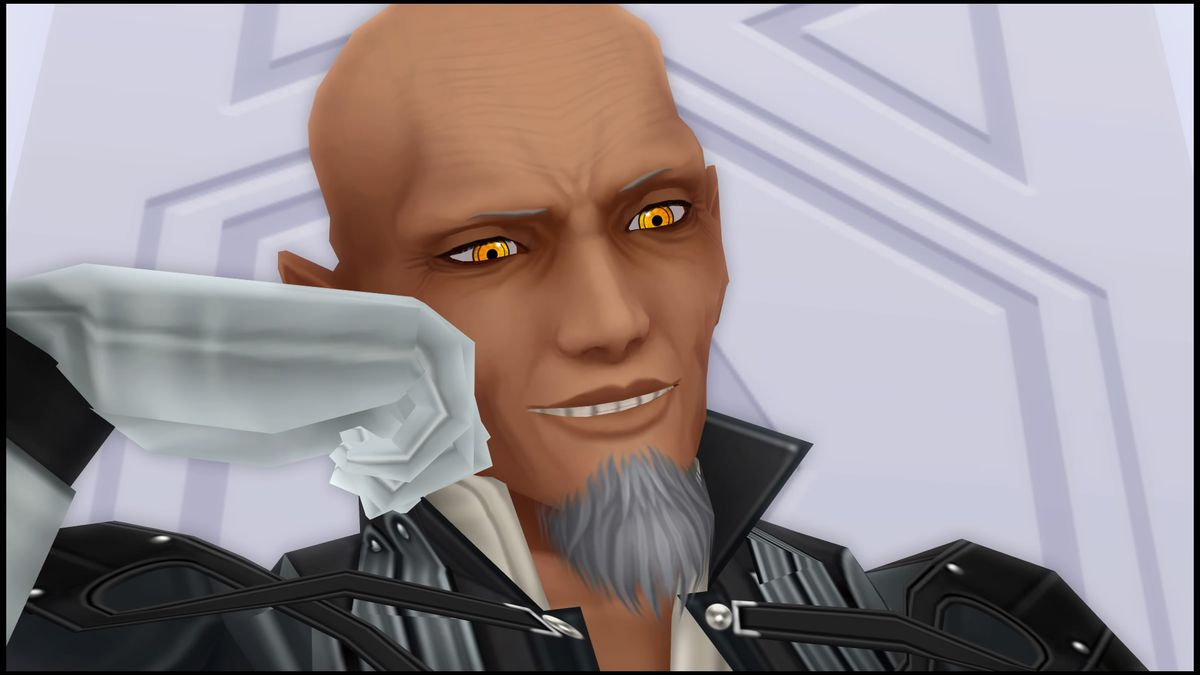 Master Xehanort with his head in his hand