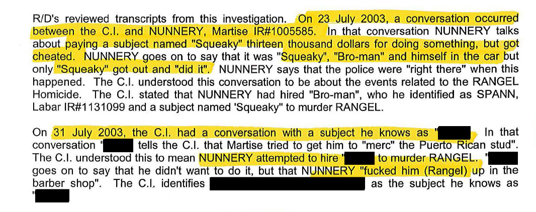 A detective's report on conversations regarding Rudy Rangel Jr.'s killing that were overheard by a police informant. | Chicago Police Department