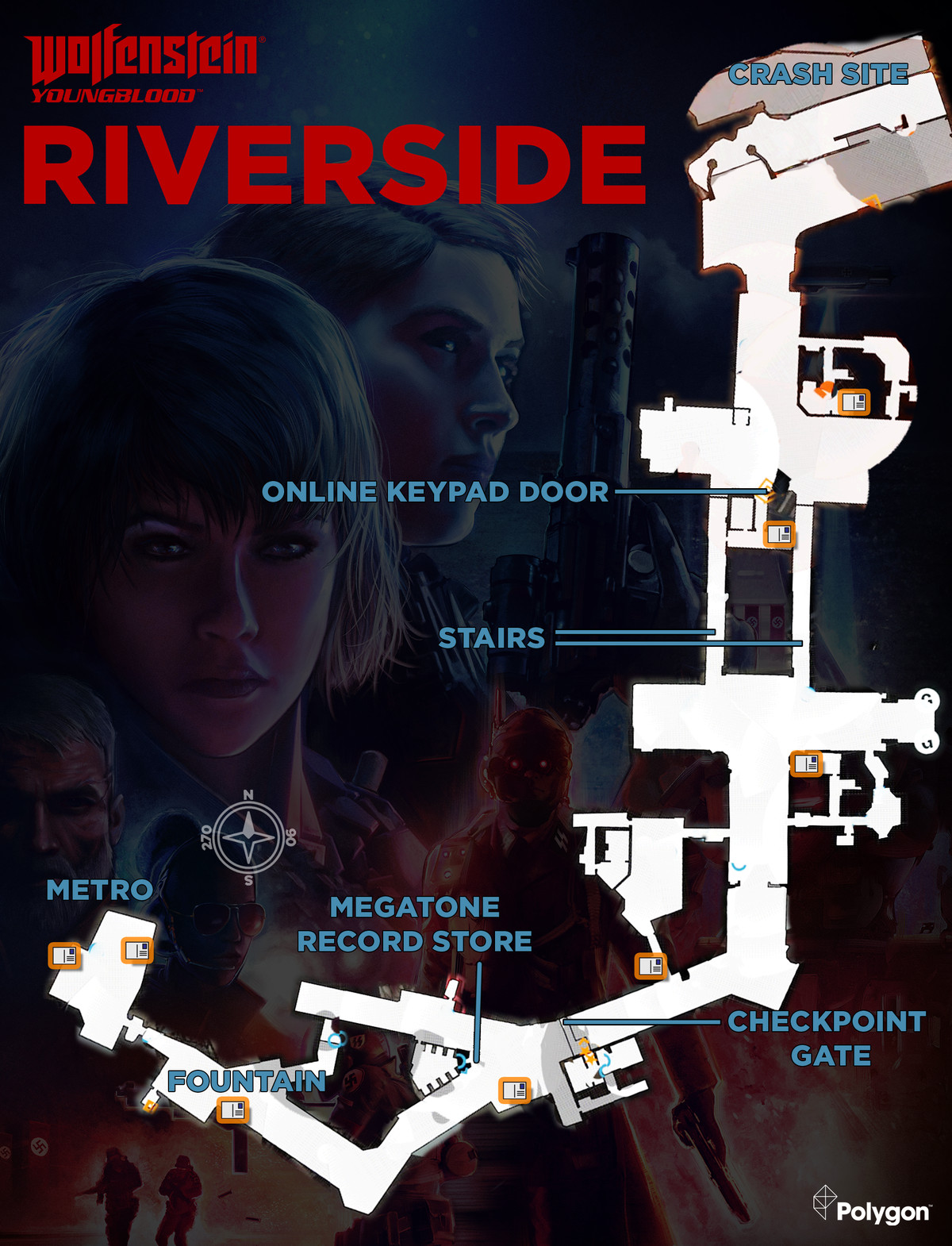 Wolfenstein: Youngblood Riverside map with Readable collectible locations