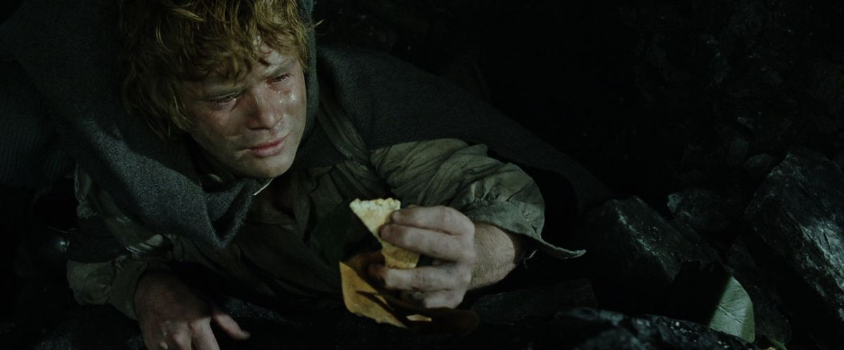 Sam finds the lembas bread that Gollum discarded in The Return of the King