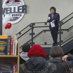 Tony Weller welcomes customers to the grand opening of Weller Book Works in Trolley Square Friday, Jan. 13, 2012. The bookstore previously known as Sam Wellers was a longtime anchor of Salt Lake City's Main Street.