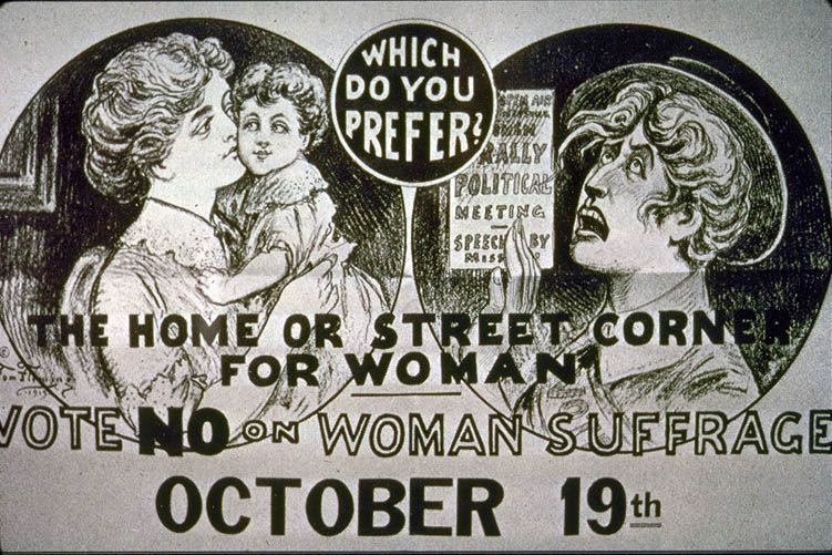 """1915 advertisement arguing that women would end up on """"the street corner"""" if they got the vote."""