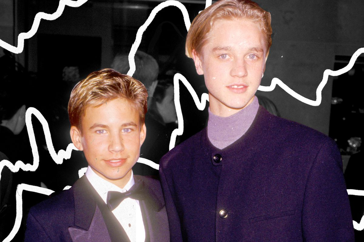 1990s teen heartthrobs Jonathan Taylor Thomas and Devon Sawa stand together for a photo, superimposed on a black-and-white illustrated background