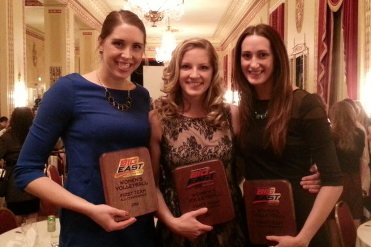 (L to R) Danielle Carlson, Elizabeth Koberstein, and Holly Mertens show off their All Big East First Team plaques.