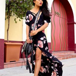 """Olivia of <a href=""""http://lusttforlife.com/"""">Lust for Life</a> is wearing an <a href=""""http://www.spanishmossshop.com/AMERICAN_GOLD_s/60.htm"""">American Gold</a> dress, a Simone Camille bag and Zara heels."""