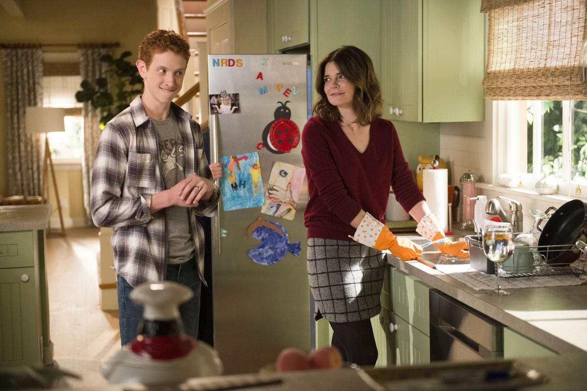 """Niall Cunningham appears with Betsy Brandt, who plays his mom, in """"Life With Pieces."""" 