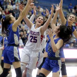 Richfield's Nicole Willardson reaches for the rebound surrounded by Carbon's Sydney Orth, Diana Morley and Makenna Blanc, during the 3A girls basketball quarterfinals at the Lifetime Activities Center in Taylorsville on Thursday, Feb. 20, 2020. Richfield won 50-36.
