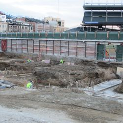 Another view of excavation in the left-field bleachers
