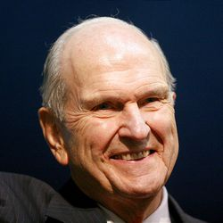 Elder Russell M. Nelson smiles at the crowd of missionaries after the Christmas Morning Devotional at the Missionary Training Center in Provo on Tuesday, Dec. 25, 2012.