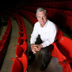 Chris Hill, the University of Utah's athletic director since 1987, poses for a portrait at the Huntsman Center in Salt Lake City on Thursday, Aug. 13, 2015.