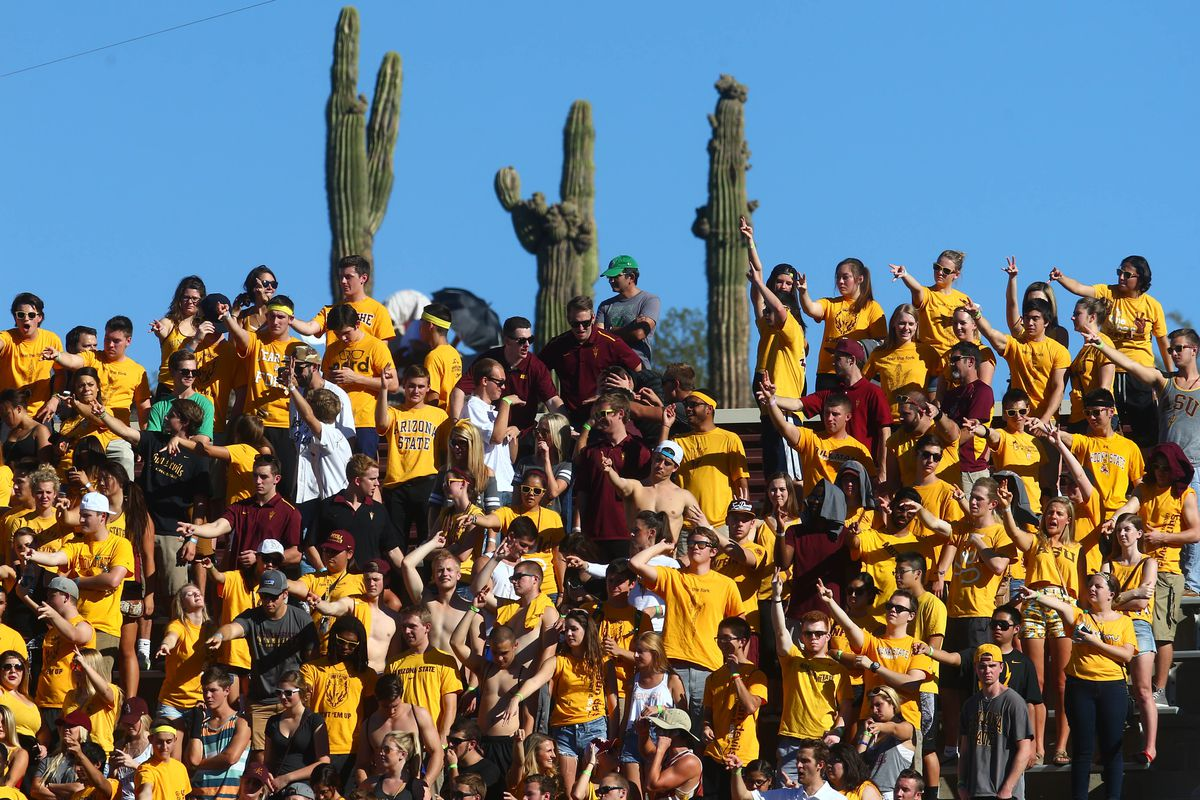 Arizona State football fans, with cacti in the background