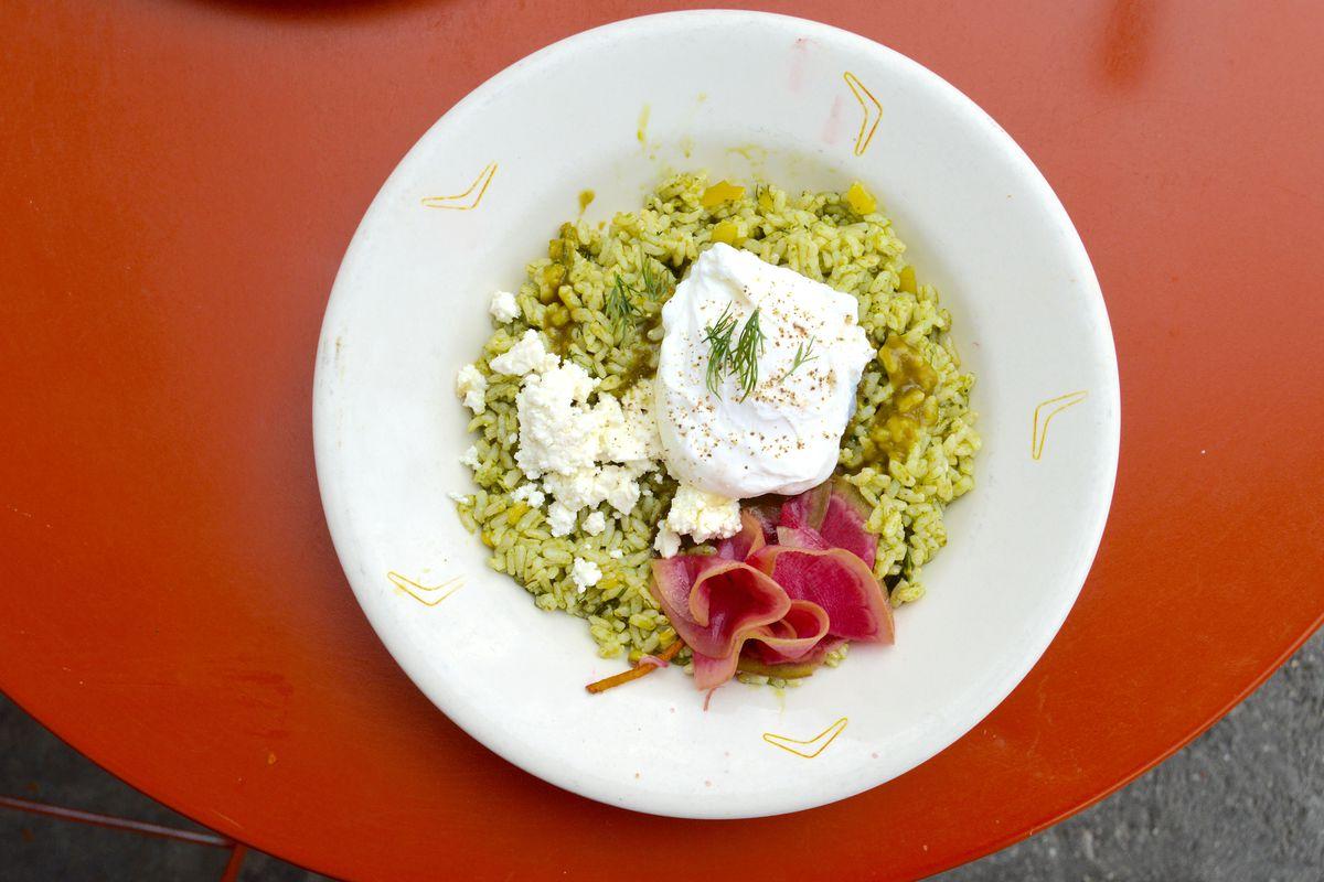 Sorrel pesto rice bowl at Sqirl