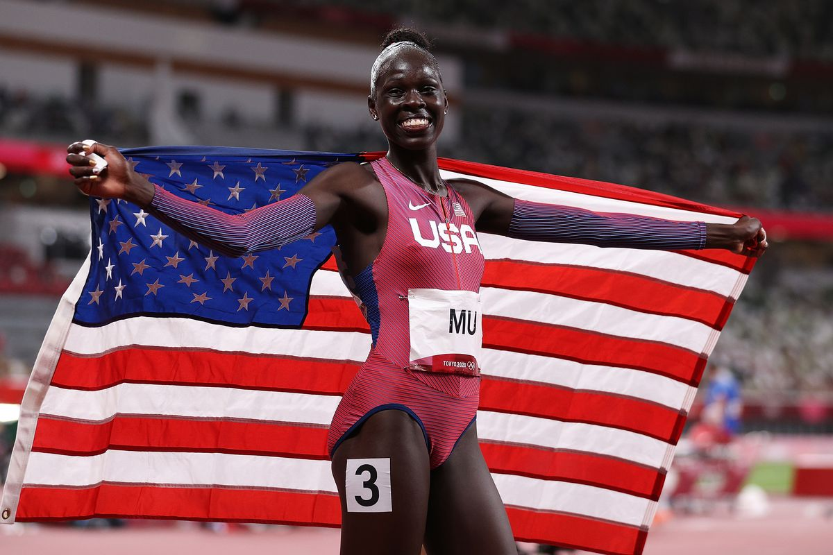 Athing Mu of Team United States reacts after winning the gold medal in the Women's 800m Final on day eleven of the Tokyo 2020 Olympic Games at Olympic Stadium on August 03, 2021 in Tokyo, Japan.