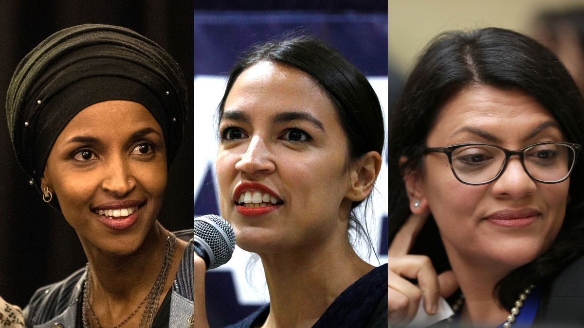 Reps. Ilhan Omar, Alexandria Ocasio-Cortez, and Rashida Tlaib.