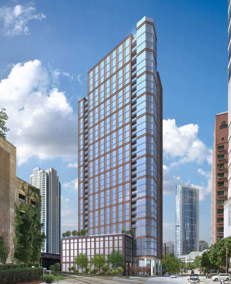 A low-resolution rendering of a 33-story apartment tower with an exterior metal grid and floor-to-ceiling windows.