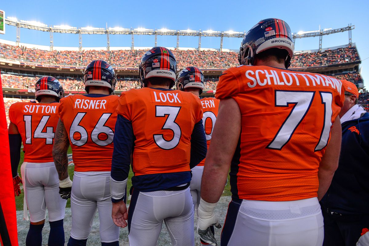 Denver Broncos offensive players, including Courtland Sutton, Dalton Risner, Drew Lock, and Austin Schlottmann prepare to go onto the field to play against the Oakland Raiders during a game at Empower Field at Mile High on December 29, 2019 in Denver, Colorado.