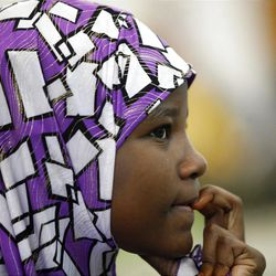 Hajira Abdi attends a prayer service at the Khadeeja Islamic Center in West Valley City on Friday, June 29, 2012.