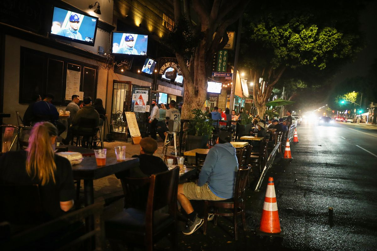 People watch World Series games in Los Angeles in early mid-October