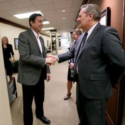 Rep. Jason Chaffetz, R-Utah, left, shakes hands with Deseret News Editor Doug Wilks, right, before meeting with the Deseret News and KSL editorial boards in Salt Lake City on Tuesday, Feb. 21, 2017.