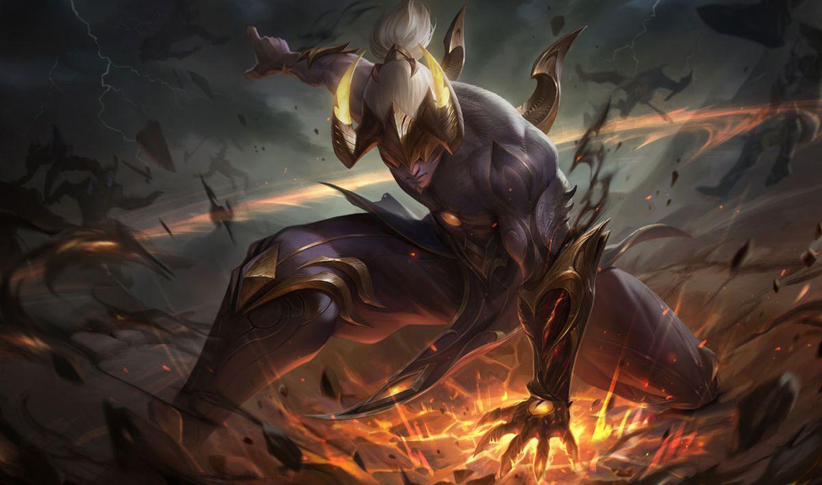 Nightbringer Lee Sin Prestige Edition slams the ground, creating a golden shockwave that sends enemies flying