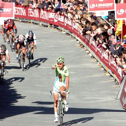 Sagan points to his teammate as he saunters in for second