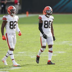December 2020: One day before their Week 16 game, the stunning news dropped that Cleveland's entire group of wide receivers — Jarvis Landry, Rashard Higgins, Donovan Peoples-Jones, and KhaDarel Hodge — would miss the game against the Jets. Not because they had COVID-19, but because they were deemed close contacts to LB B.J. Goodson, who did test positive for the virus.