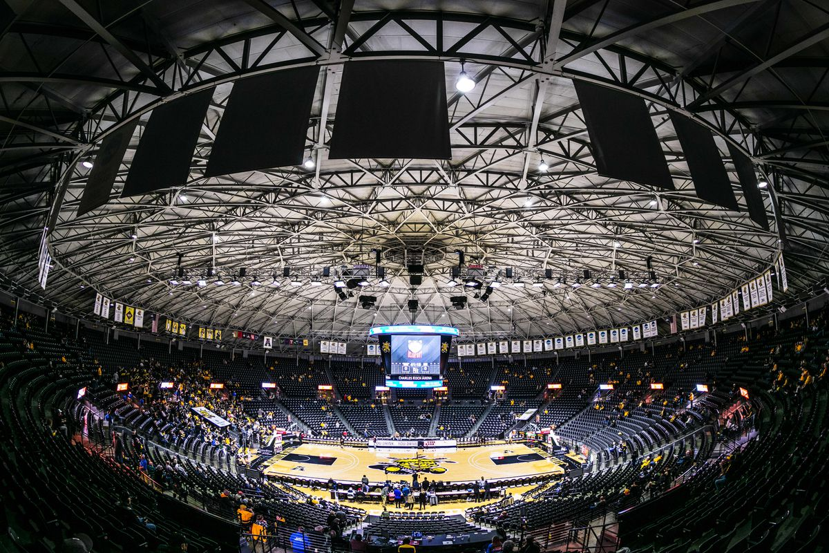 Fans begin to file into the arena prior to the basketball game between the Wichita State Shockers and the Houston Cougars at Charles Koch Arena.