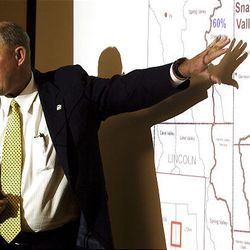 Mike Styler, director of Utah Department of Natural Resources, shows the location of the Snake Valley aquifer during a public hearing Tuesday on a proposed pipeline.