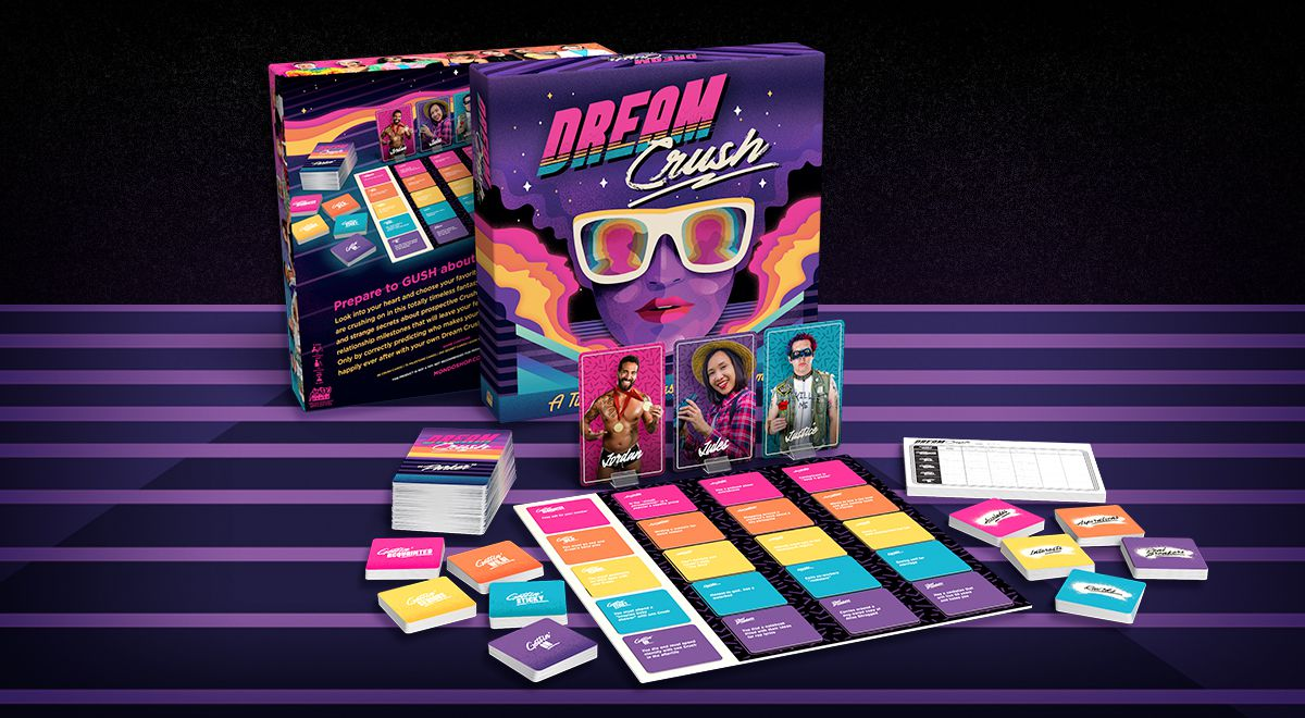 The components of Dream Crush laid out on the table. The background is magenta with purple stripes.