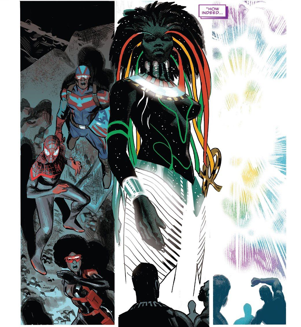 The bust appears in a new form, with black skin and cosmic star-studded hair, fluttering in the color of the Pan-African flag, and appears in front of the gathered Black Marvel superheroes, after which Black Panther Suddenly disappeared in the light.  # 25, Marvel Comics (2021).