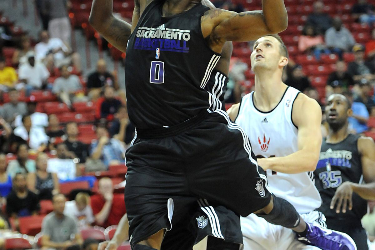 July 18, 2012; Las Vegas, NV, USA; Sacramento Kings forward Thomas Robinson (0) goes for the ball during the first half of the game against the Toronto Raptors at the Thomas & Mack Center. Mandatory Credit: Jayne Kamin-Oncea-US PRESSWIRE
