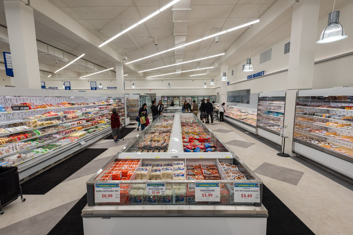 Frozen foods and refrigerated section at Mitsuwa Marketplace, Torrance.