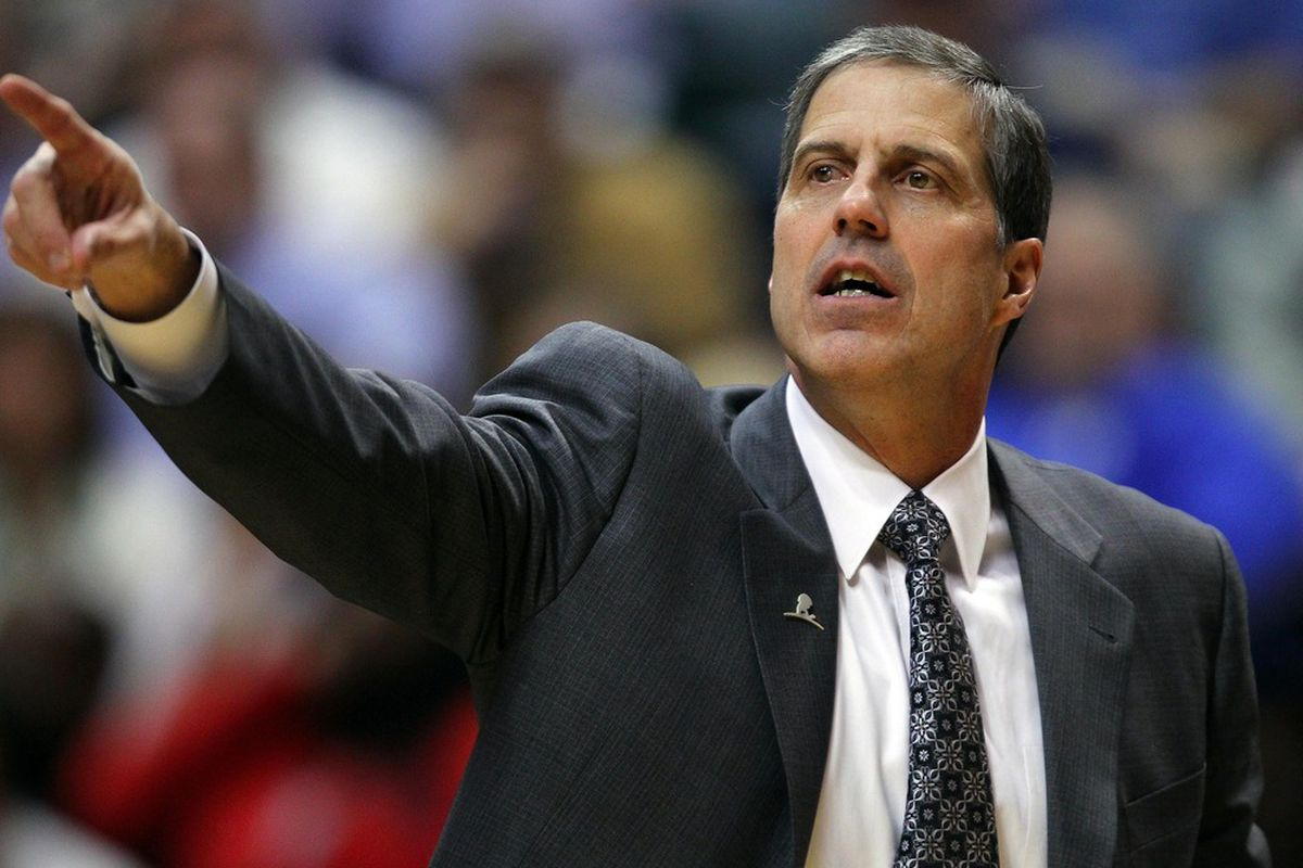 March 29, 2012; Indianapolis, IN, USA; Washington Wizards head coach Randy Wittman signals instructions against the Indiana Pacers at Bankers Life Fieldhouse. Indiana defeated Washington 93-89. Mandatory credit: Michael Hickey-US PRESSWIRE