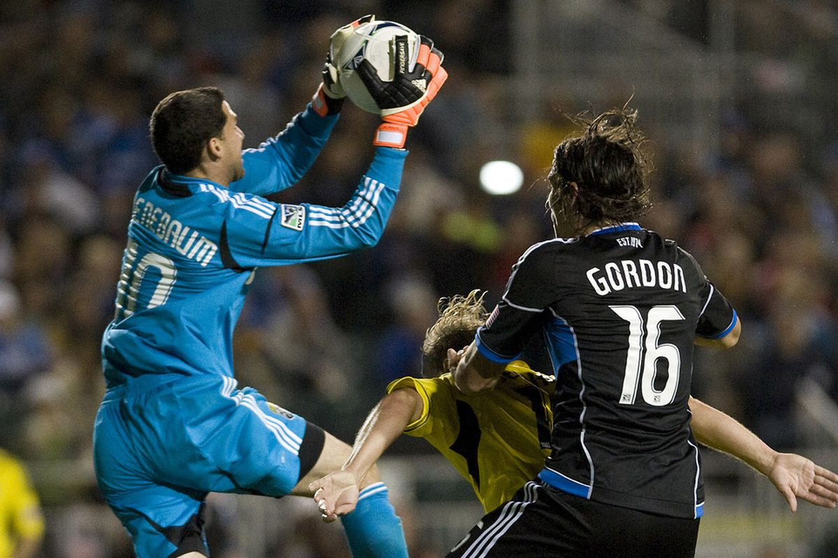 Andy Gruenebuam made countless saves on Saturday night to keep the Crew in the game. However, Alan Gordon's late goal salvaged a point for the Quakes.