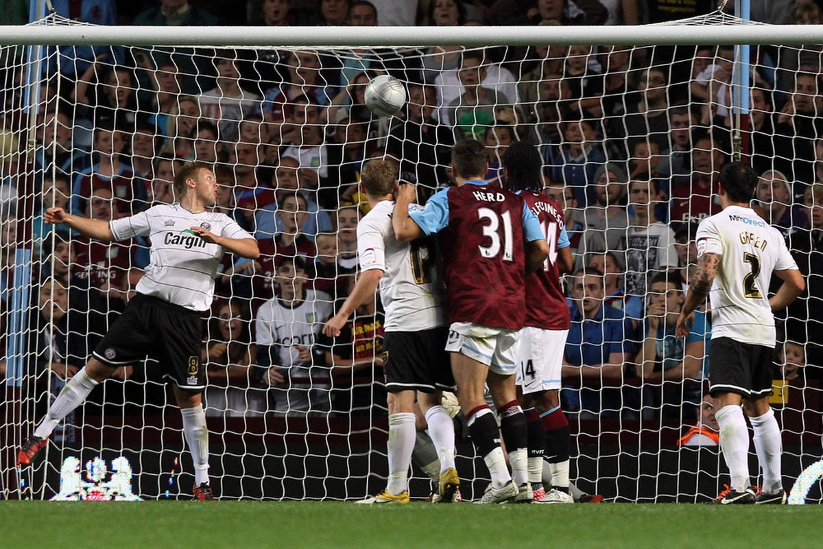 This is not the picture of Eric Lichaj's winner for Aston Villa that I was hoping for. (Photo by Ross Kinnaird/Getty Images)
