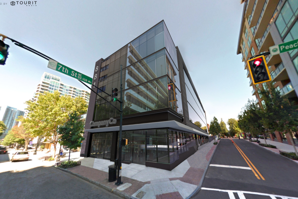 A rendering of the office space superimposed onto a street view.