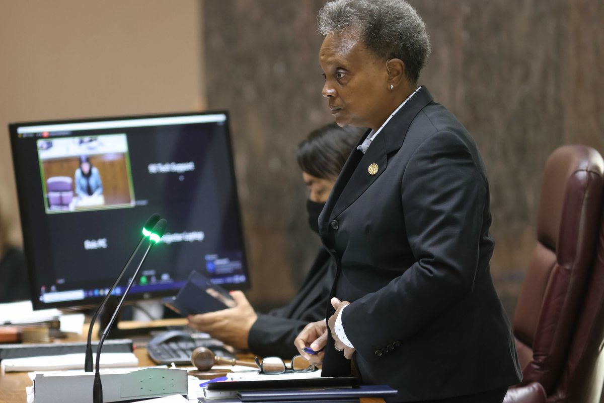 Mayor Lori Lightfoot presiding at a meeting of the Chicago City Council on Tuesday, Sept. 14, 2021.