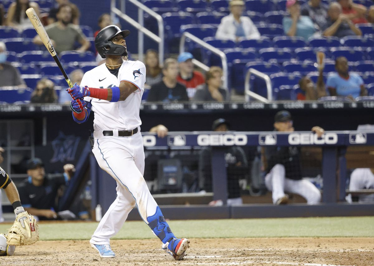 Miami Marlins first baseman Lewin Diaz (68) watches his walk off home run against the Pittsburgh Pirates during the 10th inning at loanDepot Park.