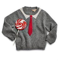 Christopher Fischer Ken's Tie-Intarsia Cashmere Sweater, 6-24 Months, $175