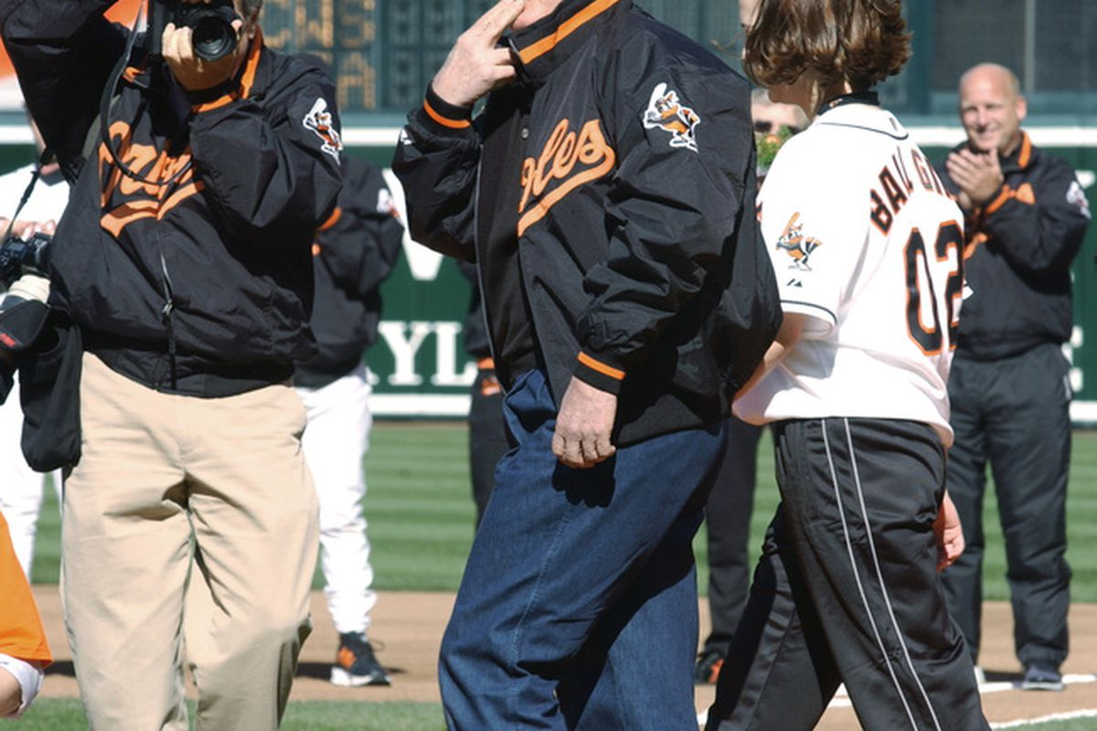 1 Apr 2002: Johnny Oates throws out the ceremonial first pitch at the Baltimore Orioles before Opening Day at Camden Yards against the New York Yankees in Baltimore, Maryland. Greg Fiume/Getty Images