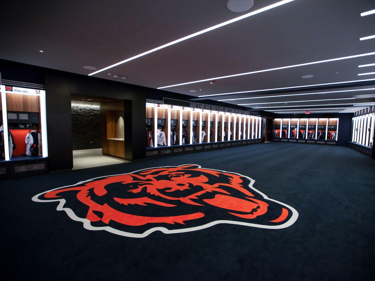Locker room at the new Halas Hall, Saturday, August 24, 2019, in Lake Forest, Illinois. | Matt Sisneros/Chicago Bears