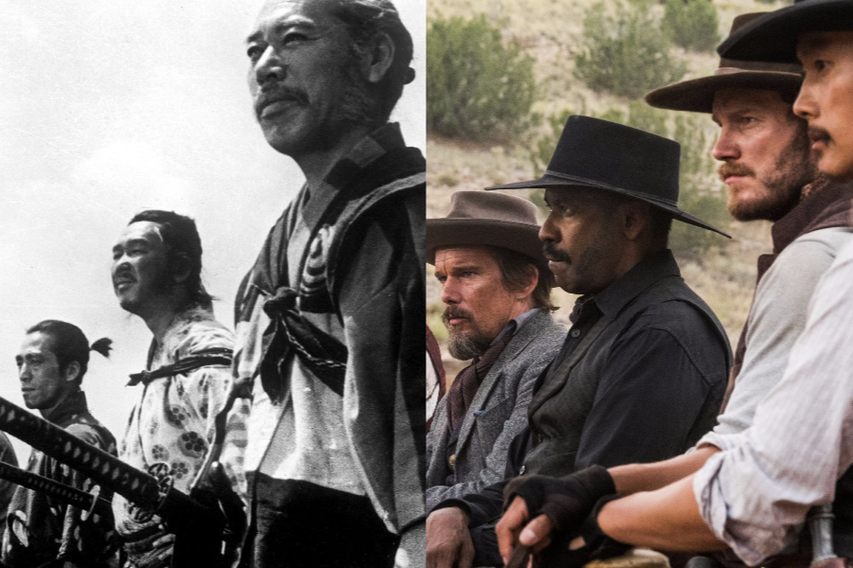 Side-by-side of Seven Samurai and The Magnificent Seven (2016)