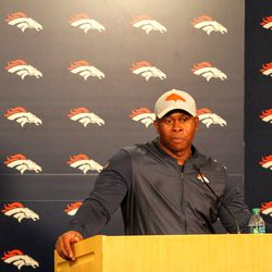 Denver Broncos Head Coach Vance Joseph talks with the press after preseason game two against the Chicago Bears.